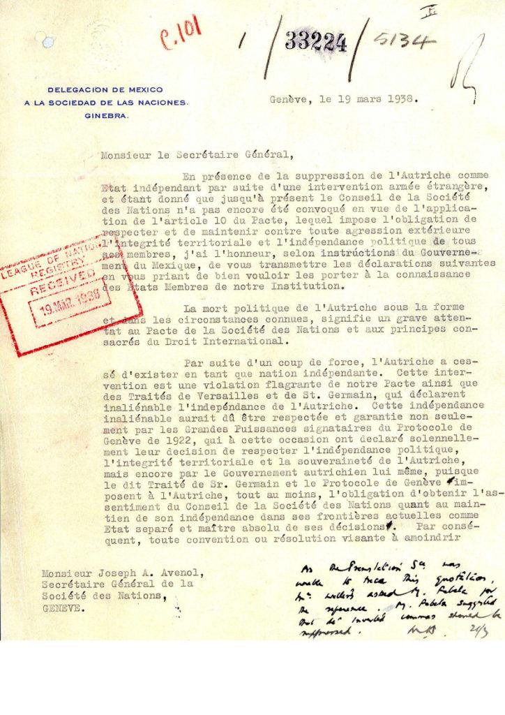 Mexiko Protest gegen Anschluss Österreich 1938